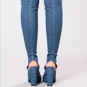 Fashion Nova Shoes - Fashion Nova - Kristy Knee High Denim Boots